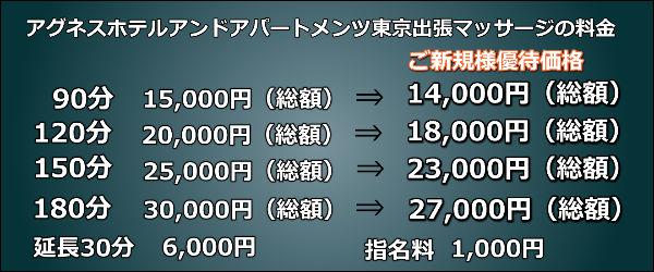 アグネスホテルアンドアパートメンツ東京出張マッサージの料金