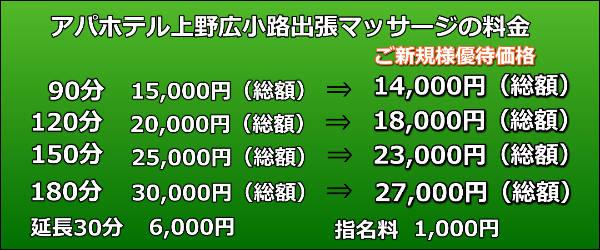 アパホテル上野広小路出張マッサージの料金