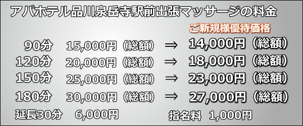 【アパホテル品川泉岳寺駅前】で出張マッサージの料金