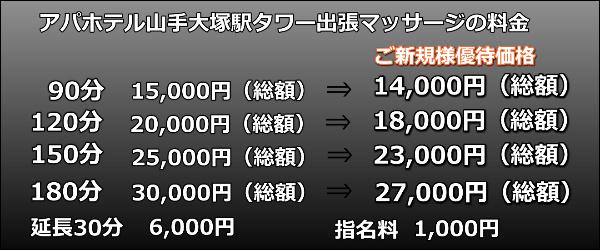 アパホテル山手大塚駅タワー出張マッサージの料金