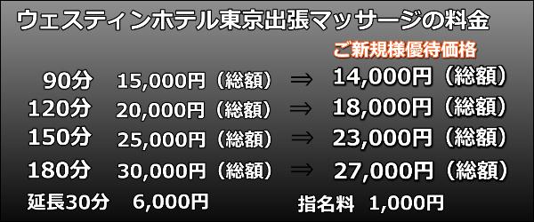 【ウェスティンホテル東京】で出張マッサージの料金