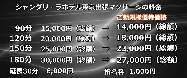 【シャングリ・ラホテル東京】での出張マッサージの料金