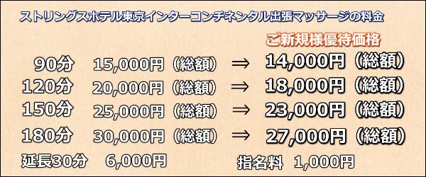 ストリングスホテル東京インターコンチネンタル出張マッサージの料金