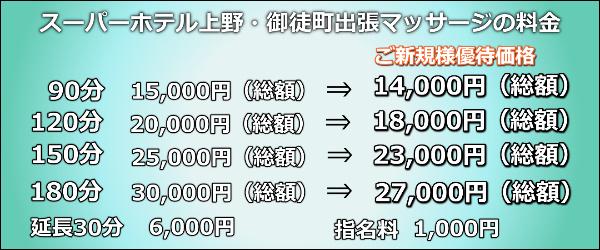 【スーパーホテル上野・御徒町】で出張マッサージの料金