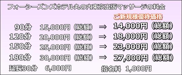 【フォーシーズンズホテル丸の内東京】で出張マッサージの料金