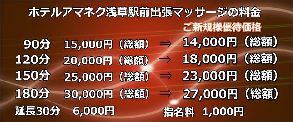 ホテルアマネク浅草駅前出張マッサージの料金