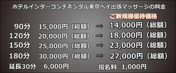ホテルインターコンチネンタル東京ベイ出張マッサージの料金