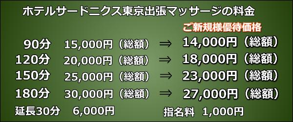 【ホテルサードニクス東京】で出張マッサージの料金