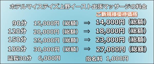 【ホテルマイステイズ上野イースト】で出張マッサージの料金