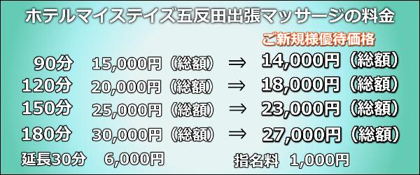 【ホテルマイステイズ五反田】で出張マッサージの料金