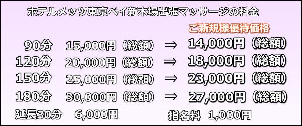 JR東日本ホテルメッツ東京ベイ新木場出張マッサージの料金