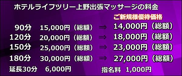 【ホテルライフツリー上野】で出張マッサージの料金
