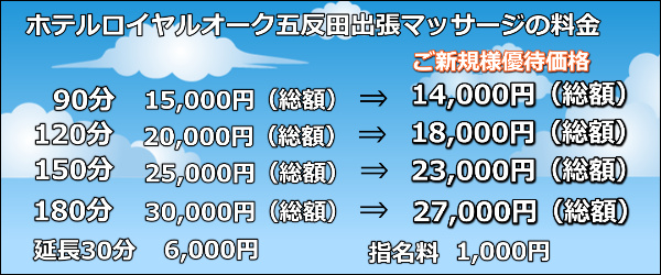 【ホテルロイヤルオーク五反田】で出張マッサージの料金