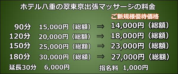 【ホテル八重の翠東京】で出張マッサージの料金