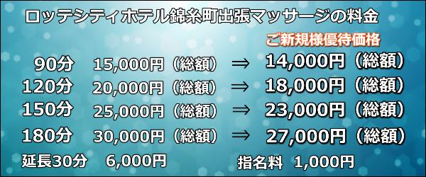 【ロッテシティホテル錦糸町】で出張マッサージの料金