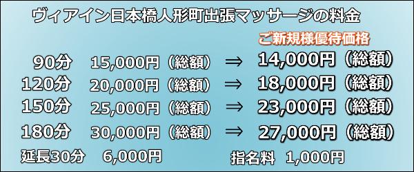 【ヴィアイン日本橋人形町】で出張マッサージの料金