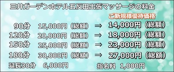 【三井ガーデンホテル五反田】で出張マッサージの料金