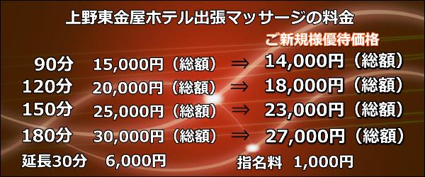 上野東金屋ホテル出張マッサージの料金