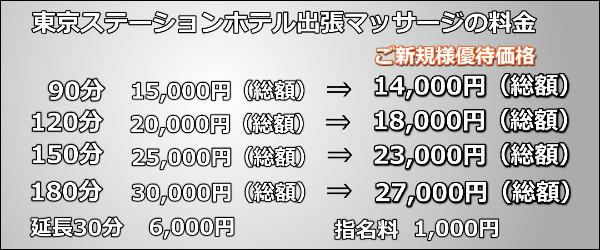 東京ステーションホテル出張マッサージの料金