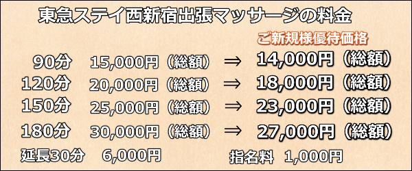【東急ステイ西新宿】で出張マッサージの料金