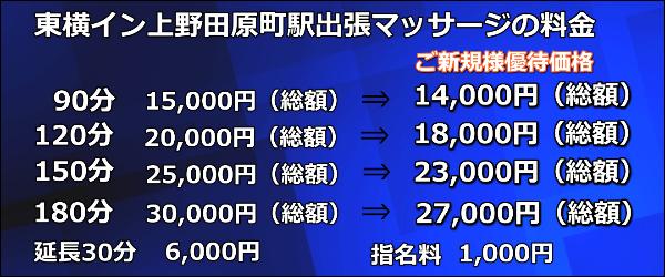 【東横イン上野田原町駅】で出張マッサージの料金
