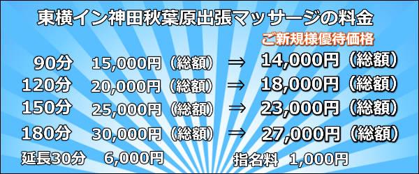 【東横イン神田秋葉原】で出張マッサージの料金
