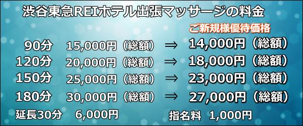渋谷東急REIホテル出張マッサージの料金