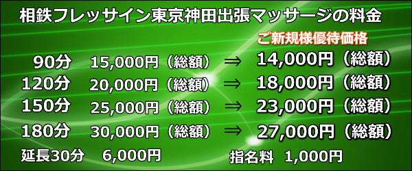 【相鉄フレッサイン東京神田】で出張マッサージの料金