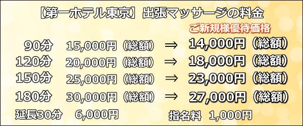 【第一ホテル東京】で出張マッサージの料金
